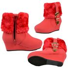 Girls Toddler Youth Fur Cuff Ankle Wedge Booties w/ Buckle Accent Red Size 9-4