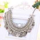 Coin Necklace Chain Bohemian Choker Silver Long Jewelry Fashion Women Round WLSG