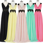 Pageant Women V neck Long Chiffon Ballgown Evening Party Bridesmaid Dress New