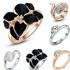 Women Fashion Crystal White Gold Plated Wedding Engagement Bridal Ring Jewelry W