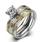 2pcs Stainless Steel Women Men Wedding Engagement Band Zircon Set Rings #6/7/8/9