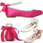 New Women Satin Round Toe Flats Pearls Ankle Strap Low Heel Wedding Bridal Shoes