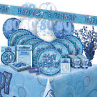 AGE 80/80TH BIRTHDAY BLUE GLITZ PARTY RANGE (Balloon/Decorations/Banner/Napkins)