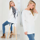 Rare Womens Autumn White Casual Wings Blouse Loose Cotton Tops T Shirt