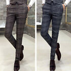 New Men's Vintage Plaid Checked Flat Front Slim Fit Casual Work Pants Trousers