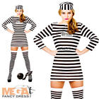 Jailbird Convict Costume + Hat Ladies Prisoner Uniform Womens Fancy Dress Outfit