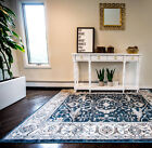 Navy Blue Ivory Traditional Area Rug Bordered Oriental Vines Floral Carpet