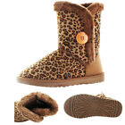 Moda Essentials Short Button Women's Faux Sheepskin Winter Boots