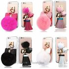 Plush Ball & Tassel Leather Soft Gel/TPU Mirror Case Cover for iPhone 6 6S Plus