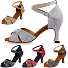 Lady Peep Toe Crystal Encrusted Mid Heels Sandals Cross Strap Latin Dance Shoes