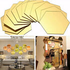 12PCS GEOMETRIC HEXAGON 3D ART MIRROR WALL STICKER DECAL HOME DIY DECOR IDEAL
