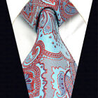 A22 Mens Necktie Azure Blue Red Extra Long Size 100% Silk Ties Floral Pattern