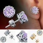 Charm Women Elegant Sterling Silver Rhinestone Crown Ear Stud Earrings B20E