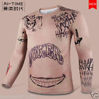 2016 Movie Suicide Squad Joker Tattoo Cosplay long sleeve Sports Shirts