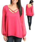 Sexy Romantic Fuchsia Cutout Neck Sheer Polyester Chiffon Party Club Top, USA