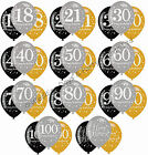 "6 Black Silver Gold 11"" Balloons Helium or Air Happy Birthday Party Decorations"
