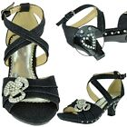 Girls High Heel Pageant Dress Sandals w/ Ankle Strap Rhinestone Black Size 10-5
