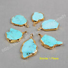 1Pcs Blue Howlite Turquoise Pendant / Necklace Gold Plated Electroplated HG0180