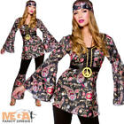 Peace Hippie Ladies Costume 1960s Groovy Retro Womens 60s 70s Fancy Dress Outfit