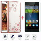 Premium Real 9H Tempered Glass + Back Diamond TPU Clear Case Cover For Huawei
