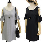 New Women's Cute Strapless Lotus Sleeve Round Neck Solid Knit Tunic Dresses