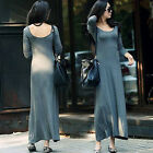 Stylish Women Tops Long Sleeve Solid Casual Loose Big Round Neck Dress One Size