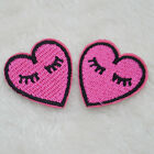2Pcs DIY Motif Embroidery Iron on Patches Sew on Applique Embroidered Heart/Lips