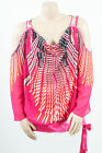 Foxy Fuchsia Cold Shoulder Cascading Print Madison Paige Sexy Party Plus Top