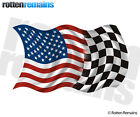 American Racing Checkered Flag Decal USA US United States Vinyl Sticker (RH) TCS