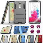 Back Hybrid Armor Rubber Case Cover + 9H Tempered Glass Screen Protector For LG
