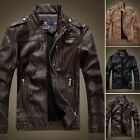 Men Slim fit Zipper Jacket PU Leather Fleece Lined Motorcycle Outwear Coat Biker