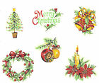 Ceramic Decals Vintage Christmas Designs Wreath Candle Bells Tree Ornament