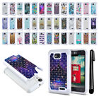 For LG Optimus L70 MS323 Anti Shock Studded Bling HYBRID Case Phone Cover + Pen