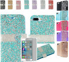 """Tempered Glass+Rhinestone Leather Wallet Case Cover For Apple iPhone 7+Plus 5.5"""""""