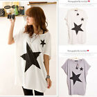 New Womens Charming Star Print Loose Batwing Short Sleeve T-Shirt Tops Blouse