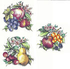Ceramic Decals Fruit Group 3 Designs Apple Cherry Pear Grape Floral Platter image