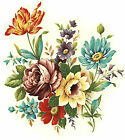 Ceramic Decals Colorful Floral Bouquet Tulip Rose Chrysanthemum Daisy Bluebell