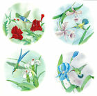Ceramic Decals Hummingbird Floral Scene Set/4 Designs Red Pink White Blue Flower image