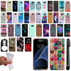 For Samsung Galaxy S7 G930 Art Design TPU Soft SILICONE Rubber Case Cover + Pen