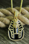 "ICED OUT KING TUT PENDANT & 24"" BOX/ROPE/CUBAN CHAIN HIP HOP NECKLACE - XQP61G"