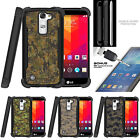 For LG K7 | Tribute 5  Bumper Stand Case + Tempered Glass Abstract Camo