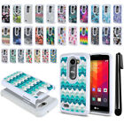 For LG Leon C40 Power L22C Anti Shock Studded Bling HYBRID Case Phone Cover +Pen