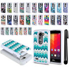 For LG Leon C40 Power L22C Anti Shock Studded Bling HYBRID Case Cover + Pen