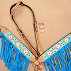 HILASON WESTERN LEATHER HORSE ONE EAR HEADSTALL BREAST COLLAR AZTEC TURQUOISE