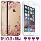 Back Diamond TPU Clear Case Cover + Premium 9H Tempered Glass For Apple iPhone