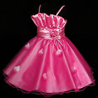 Girl's Hot Pink Christmas Wedding Party Flower Girls Dresses SIZE 2-3-4-5-6-7-8Y