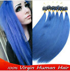 Blue Color 100S Straight  Micro Ring Beads Loop Tip Remy Human Hair Extensions
