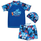 3pcs Boys 50+ UV Sunscreen Tops Shorts Swimsuit Hawaiian Style Swimwear Cap 1-7Y
