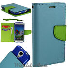 Flip Wallet Case For Samsung Phone PU Leather Pouch Cover LIGHT BLUE/ GREEN +TPU