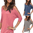 NEW Women's Summer Cut Out Cold Shoulder T Shirt Blouse Batwing Long Sleeve Tops